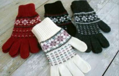 Patterned Wool Gloves - Wool Accessories - Wool Sweaters