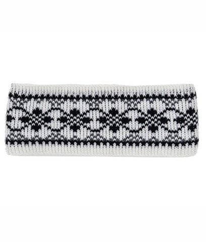 Patterned Wool Headband White - Wool Accessories - Wool Sweaters