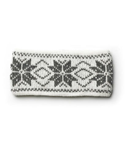 Rose Pattern Wool Headbands White/grey - Wool Accessories - Wool Sweaters