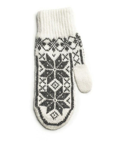 Rose Pattern Mittens White/Grey - Wool Accessories - Wool Sweaters