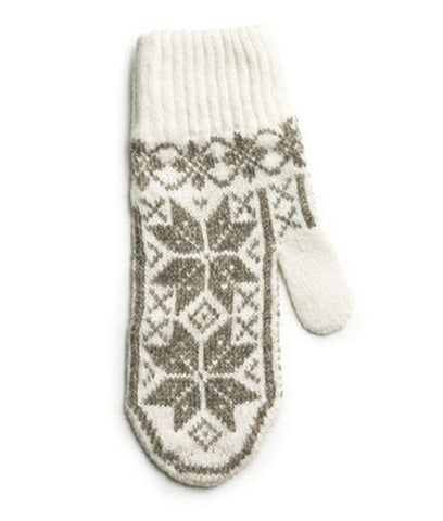 Rose Pattern Mittens White/Brown - Wool Accessories - Wool Sweaters