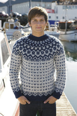 Icelandic Fishermans Wool Pullover - Blue - Wool Knitting Kit - Wool Sweaters