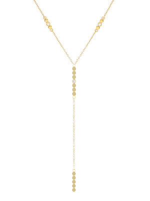 DOUBLE ROUND DIAMOND LARIAT NECKLACE