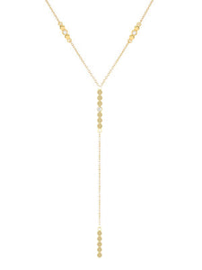 DOUBLE ROUND DIAMOND LARIAT NECKLACE - MAKKO
