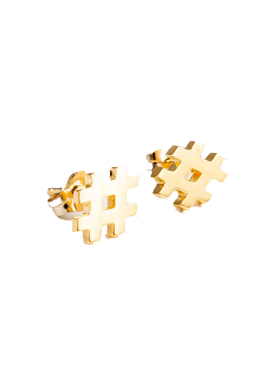 HASHTAG STUD EARRINGS - MAKKO