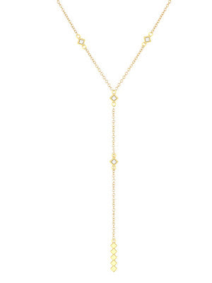 GALAXY DIAMOND LARIAT NECKLACE - MAKKO