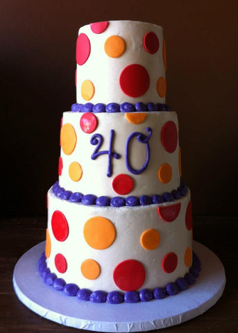Buttercream cake with Fondant polka dots