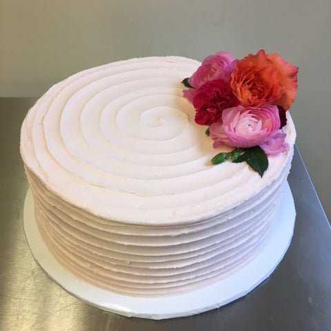 Buttercream horizontal texture.  Fresh flowers provided by customer.