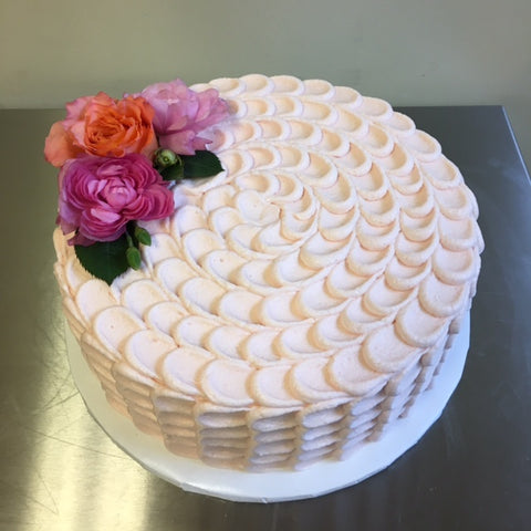 Buttercream petal texture.  Fresh flowers provided by customer.
