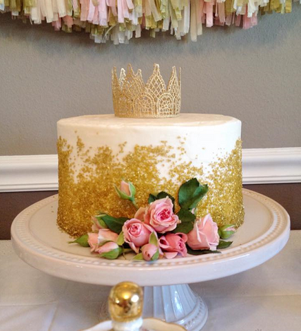 Ascending Gold Sprinkles.  Topper and Flowers provided by customer.