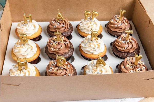 Golden Cupcake Birthday Box Amycakes Bakery