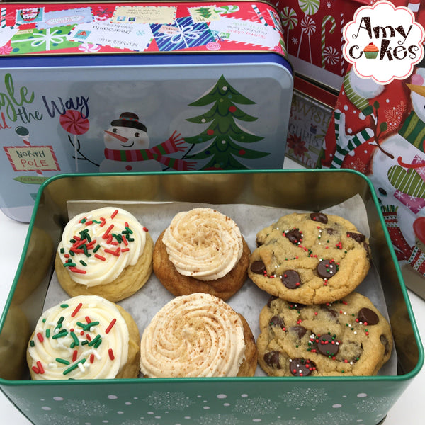 Amycake Cookies in a Holiday Tin 🎅
