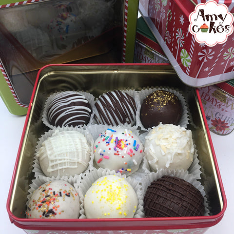 Amycake Truffles in a Holiday Tin 🎄