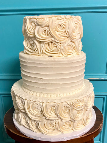 Rosette and Horizontal Tiered Cake (Booked until 2021)
