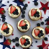 Red, White and Blueberry Shortcake cupcakes