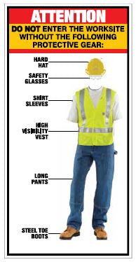 Attention-Must Wear Protective Gear Sign - Patrick's Signs - 1