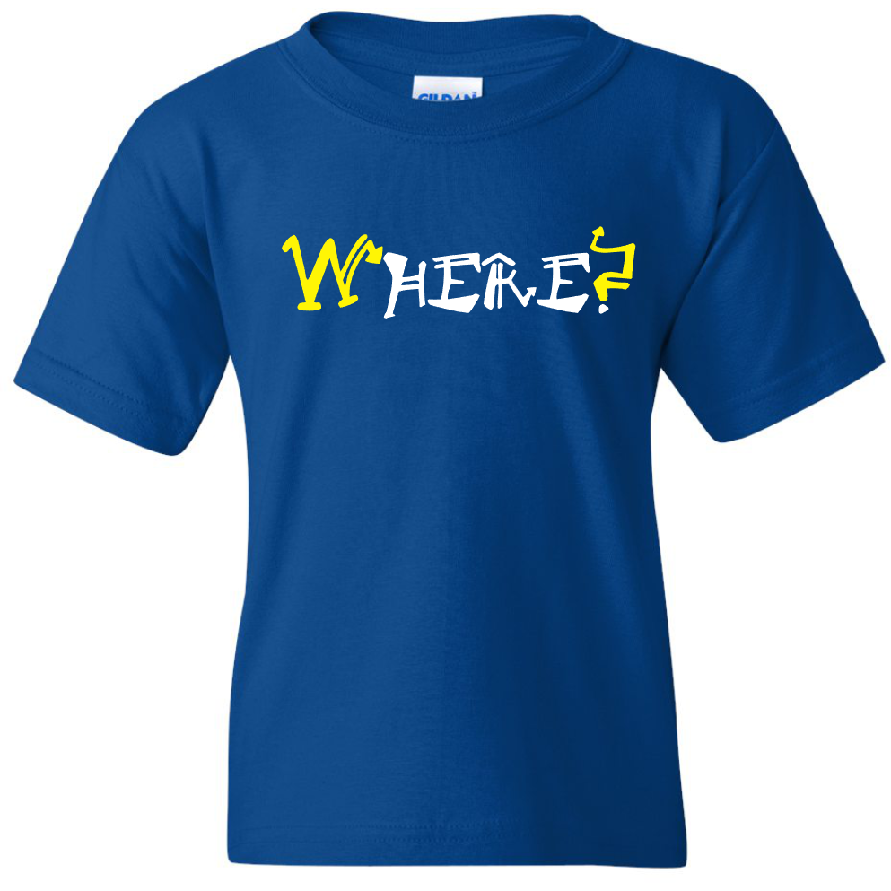 "TurnTo Designs - ""WHERE? HERE."" Double Word Vinyl Blue T-Shirt - SWALKERDESIGNS & TurnTo Designs"