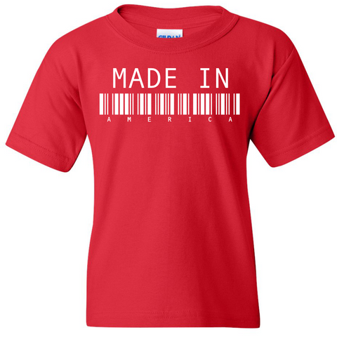 "TurnTo Designs - ""Made In America"" Barcode Vinyl Red T-Shirt - SWALKERDESIGNS & TurnTo Designs"