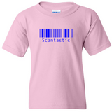 "TurnTo Designs - Barcode Blue ""Scantastic"" Vinyl Light Pink T-Shirt - SWALKERDESIGNS & TurnTo Designs"