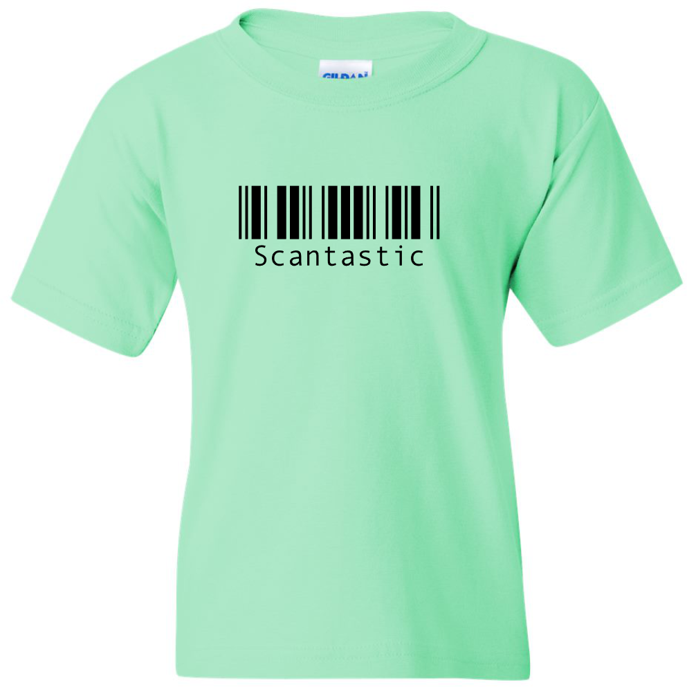 "TurnTo Designs - Barcode ""Scantastic"" Vinyl Mint Green T-Shirt - SWALKERDESIGNS & TurnTo Designs"