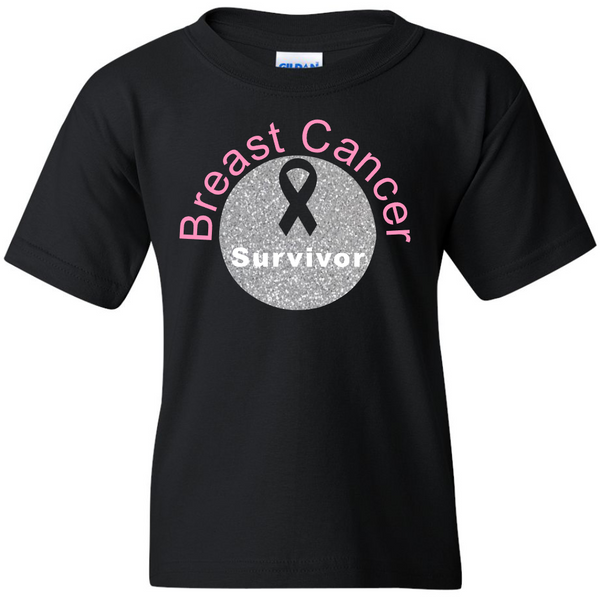 TurnTo Designs - Breast Cancer Survivor Glitter Cancer Sucks Ribbon Vinyl Black T-Shirt - SWALKERDESIGNS & TurnTo Designs