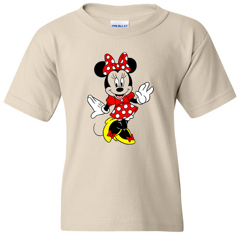 TurnTo Designs - Disneyland MINNIE MOUSE Color (Posing) Vinyl Tan T-Shirt