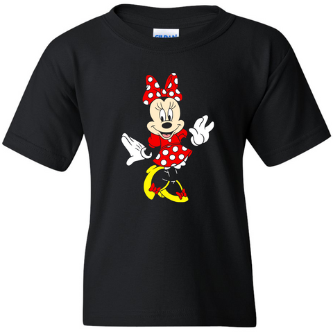 TurnTo Designs - Disneyland MINNIE MOUSE Color (Posing) Vinyl Black T-Shirt