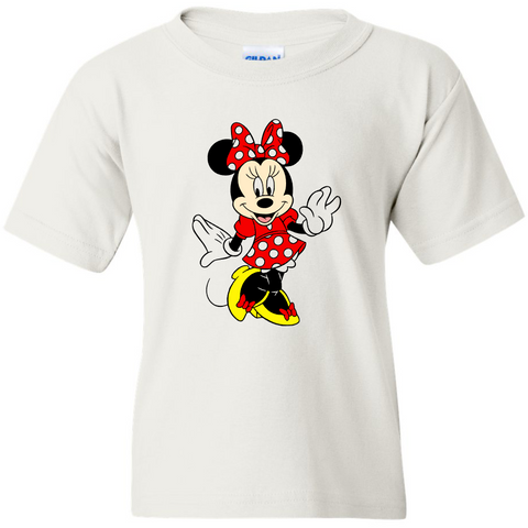 TurnTo Designs - Disneyland MINNIE MOUSE Color (Posing) Vinyl White T-Shirt