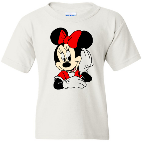 TurnTo Designs - Disneyland MINNIE MOUSE Color (Hand on Face) Vinyl White T-Shirt