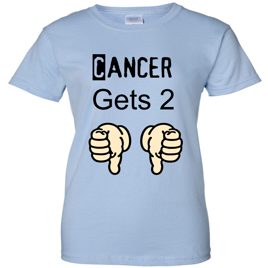 TurnTo Designs - Cancer Two Thumbs Down Vinyl Light Blue T-Shirt - SWALKERDESIGNS & TurnTo Designs