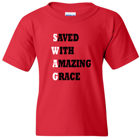 "TurnTo Designs - ""Save With Amazing Grace"" Vinyl Red T-Shirt"