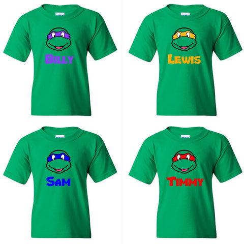 TurnTo Designs - Birthday TEENAGE MUTANT NINJA TURTLE Boys Vinyl Custom Green Shirt with Name Logo Number - SWALKERDESIGNS & TurnTo Designs