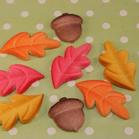 Edible Sugar Fall Leaves and Acorns
