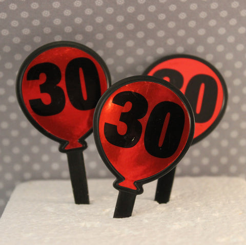 30th Birthday Balloon Picks - Cupcake Dazzle
