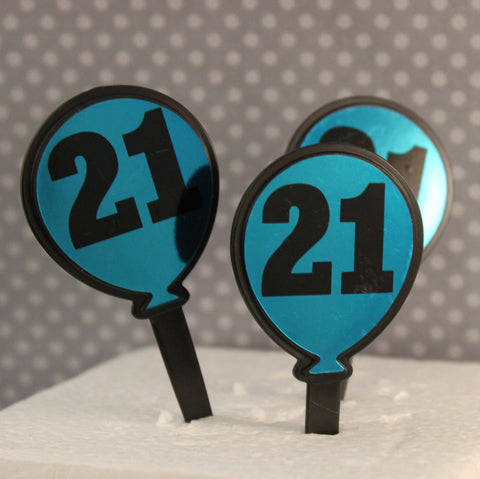 21st Birthday Balloon Picks - Cupcake Dazzle
