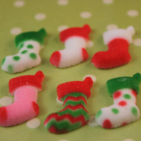 Christmas Stocking Edible Sugar Pieces - Cupcake Dazzle