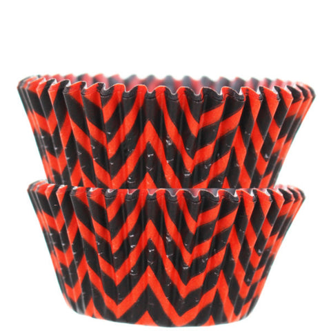 Black & Orange Chevron Print Cupcake Liners - Cupcake Dazzle