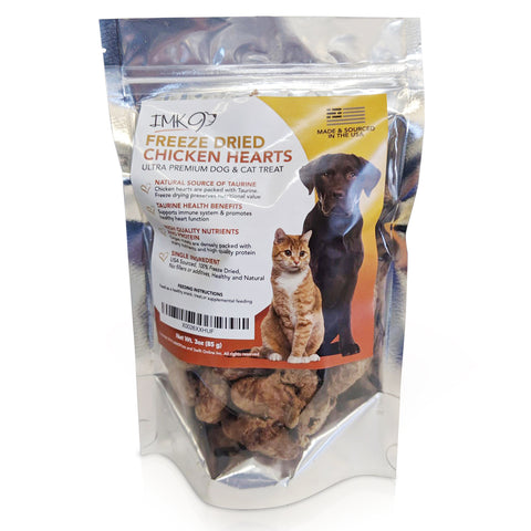 Freeze Dried Chicken Dog Treat – Raw Hearts, Natural Taurine Better Than Liver for Cats, USDA Certified, Single Dehydrated Ingredient for Pets & Puppy Training – No Grain, Gluten - Made in USA