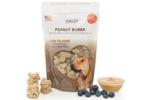 Organic Peanut Butter Dog Training Treats Biscuits - Low Calorie Diet Treat for Puppy or Large Pets - Vegetarian, Baked & Crunchy - All Natural Fiber, No Grain, Gluten - Blueberry Fruit, Made in USA