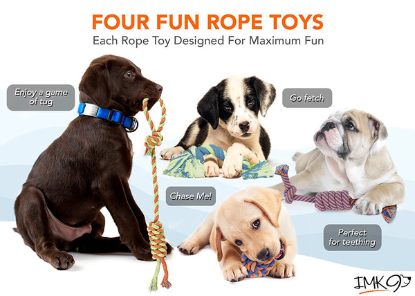 Rope Dog Toys - Set of 4 Different Toys For Large and Small Dogs - Suitable For Agressive Chewers - 100% Cotton - With Ball, Thick Teething Rope, Tug-of-War Toy and Fetching Bone