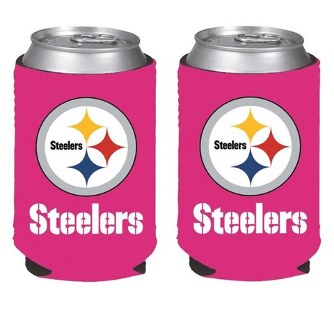 Pittsburgh Steelers NFL Womens Hot Pink Can Holder Collapsible Cooler - 2 Pack