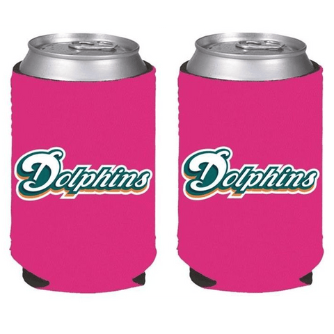 Miami Dolphins NFL Womens Hot Pink Can Holder Collapsible Cooler - 2 Pack