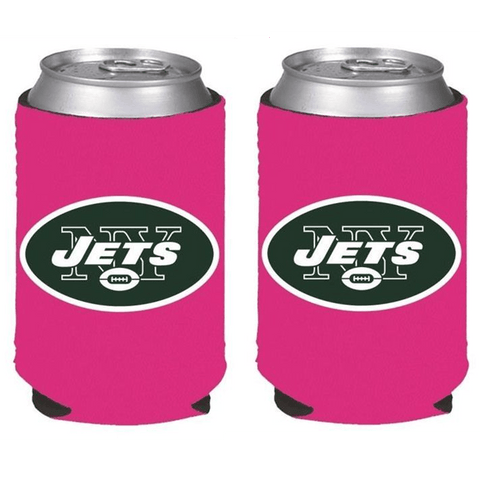 New York Jets NFL Womens Hot Pink Can Holder Collapsible Cooler - 2 Pack