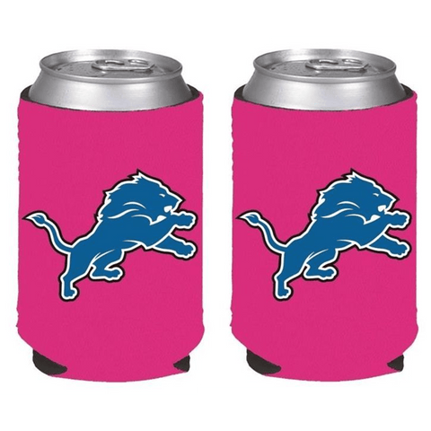 Detroit Lions NFL Womens Hot Pink Can Holder Collapsible Cooler - 2 Pack