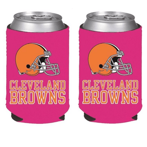 Cleveland Browns NFL Womens Hot Pink Can Holder Collapsible Cooler - 2 Pack