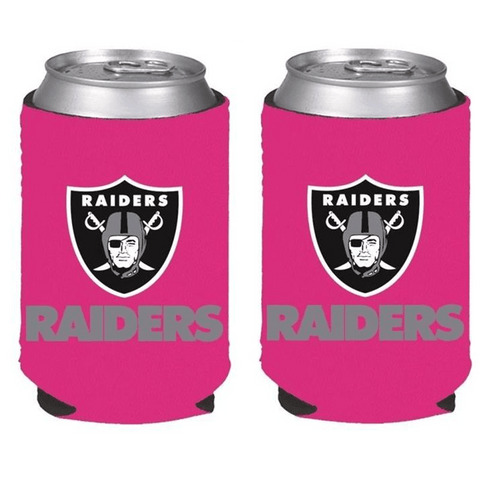 Oakland Raiders NFL Womens Hot Pink Can Holder Collapsible Cooler - 2 Pack