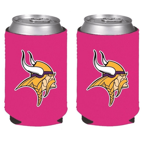 Minnesota Vikings NFL Womens Hot Pink Can Holder Collapsible Cooler - 2 Pack