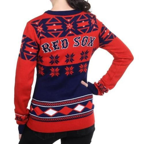 "Boston Red Sox Women's Official MLB ""Big Logo"" V-Neck Sweater"