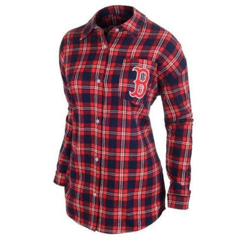 Boston Red Sox Women Wordmark Long Sleeve MLB Flannel Shirt by Klew