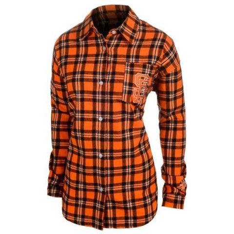 San Francisco Giants Wordmark Long Sleeve MLB Flannel Women's Shirt by Klew